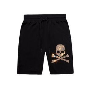 Summer Casual Mens Designer Hot Rhinestone Shorts Dritto Pantaloni corti Ginocchio Lunghezza Jogging Cotone mercerizzato di alta qualità