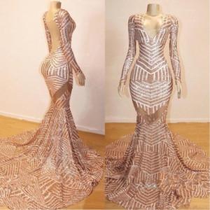 2020 Rose Gold Langarm Abendkleider Sexy Open Back Abendkleid mit V-Ausschnitt-Partei-Kleid BC0841