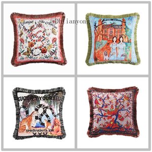 Thickened Cloud Sable Velvet Pillow Case Double Sided Hotel Fashion Cushion Cover Geometric Letter Printing Sofa Pillowcase