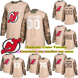 Authentic Camo Veterans Day Practice New Jersey Devils Hockey 35 SCHNEIDER HALL PALMIERI GREENE custom any number any name hockey jersey
