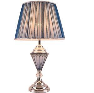 lámpara de mesa de noche dormitorio de lujo de moda de gama alta moderna lámpara de mesa lámpara de mesa minimalista Europea decoración salón azul neoclásico