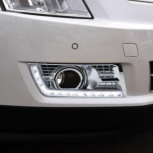 2PCS 12V LED DRL дневного света для Cadillac SRX 2016 2015 2014 2013 2012 Fog Lamp Желтый сигнал поворота Стиль реле