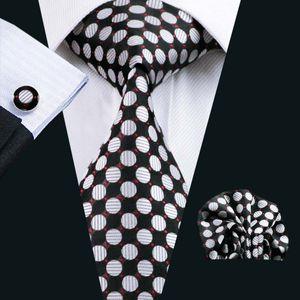 Tie Set 8,5 centímetros de seda tecido jacquard Men Silk Tie Polka Dots Series Estilo Set Atacado gravata de lenço de abotoaduras clássicas Largura Negócios