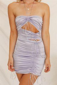 İçi boş Out BODYCON Elbiseler Sıcak Ins Stil Bayan Elbise Moda Doğal Renk Pileli Kolsuz Elbise Seksi