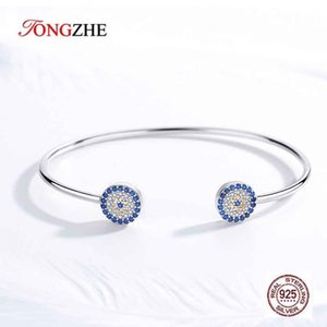 TONGZHE 925 Sterling Silver Evil Eye Bracelet& Bangles Blue Eye Designer Bracelets for Women Luxury Snake Chain Turkey Jewelry