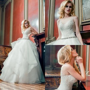 Louise Sposa Beach Wedding Dresses Sheer Neck Beads Appliques Tiered Satin A Line Wedding Dresses Sweep Train Boho Bridal Gowns