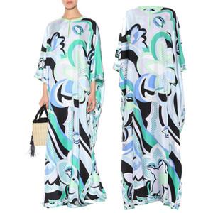 das mulheres Luxo azul impressão primavera / verão Jersey Silk maxi 3/4 manga de vestido de mulher Charming Geometric Imprimir Spandex Esticável Assinatura
