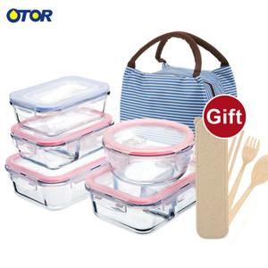 OTOR Sağlıklı Malzeme Öğle Kutu 3 Bölmeler Bento Kutular Mikrodalga Sofra Gıda Saklama kabı Lunchbox Cam Sebzelik T200111