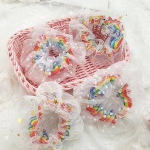Fasce elastiche Kawaii INS donne coreane del merletto dei capelli Tie Stampa Dot Arcobaleno Stelle ragazze Mesh Scrunchie Headwear Tulle Accessori per capelli