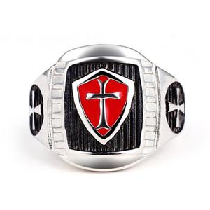 uomini croce in acciaio inox 316 di anello in acciaio inox Templari rosso e nero Ag modellazione anello maschile