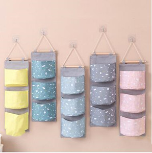 Hanging Storage Bag Door Wall Sundries Pouch Print Organizing Groceries Bag Dormitory Bedroom Space Saver Shoes Storage Foldable Bag ZYQ216