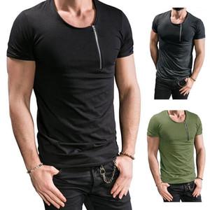 Tshirts Yaz Katı Renk Kısa kollu Tees Hombres Mens Fermuar Designer Tops