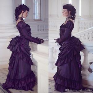 2020 Vintage gothique victorien robes de mariée Rétro Maison Royale duchesse boule à manches longues en dentelle à volants Renaissance Robe Aristocracy