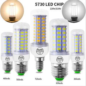 Lámpara LED 10PC / LOT Bombilla de luz LED de 48 LED 220V / 56 / 69LEDs luz del maíz de SMD 5730 luz Lampada Sin parpadeo para la decoración del hogar.