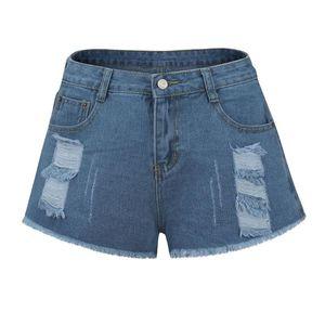 2020 Denim Shorts Women Ladies Summer High Waist Pure Color Ripped Shorts Feminino Fashion Sexy Jeans Short Mujer Streetwear #71