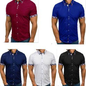 Hot Mens Summer Short Sleeve Shirts Casual Cotton Formal Slim Fit Shirt Male Summer Casual Turn Down Collar Top Shirts Clothing