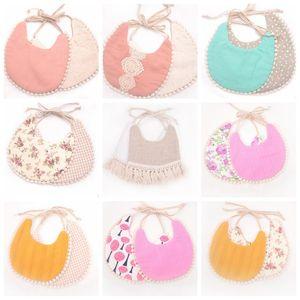 Baby Tassel Saliva Towel Floral Newborn Feeding Bibs Cotton Dribble Bib Double Side Infant Burp Cloths 36 Designs DW5335