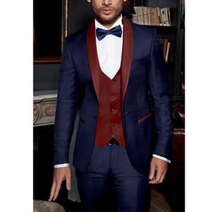 Bleu marine Costumes de marié italien formelle partie costume châle revers costumes pour hommes 3 pièces costumes de mariage smokings pour hommes veste + pantalon + gilet