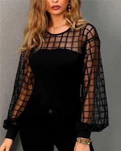 Женщины прозрачный фонарь с длинным рукавом блузка женская сетчатая рубашка Сексуальная клетчатая свободная рубашка топы мода уличная одежда