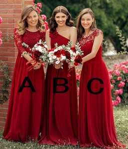 Custom Made Burgundy Lace Appliqued Chiffon Bridesmaid Dresses A-line Plus Size Formal Prom Evening Gown Long Maid Of Honor Dress