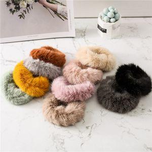 Sevimli Elastik Saç Bantları Kızlar Yapay Faux Fur Kauçuk Elastik Halka Halat Kabarık Kravat Saç Aksesuarları Kürklü Scrunchie Bandı