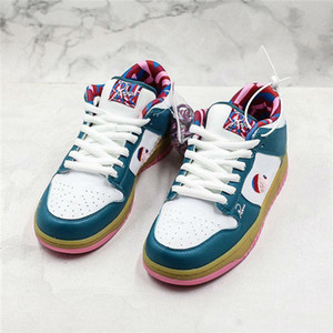 Com Box PARRA X SB Dunk Low Skate Board sapatos brancos Plush Artista Abstract Pattern Sports confortáveis ​​Designer Skate Shoes