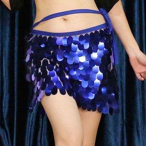 9 Couleur Belly Dance Costumes sirène Hip Echarpes Paillettes Hip Ceinture chaîne Filles Femmes Boîte de nuit DJ Dancewear Jupe