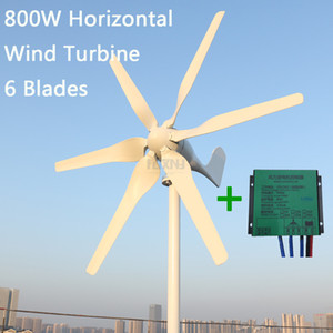 신개념 풍력 터빈 800w 12v 24v 발전기와 6 블레이드 무료 PWM 컨트롤러 가정용