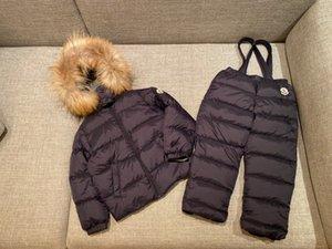 Niños abajo conjuntos de chaqueta de 2020 nuevos niños y niñas de invierno de la chaqueta con capucha + bib pantalones 2pcs mejor calidad ropa de niños WSJ050 # 121819