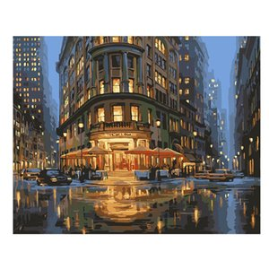 WEEN Night City Street DIY Painting By Numbers Sea Canvas Painting Sky Oil Wall Art Picture Coloring By Numbers For Home Decor
