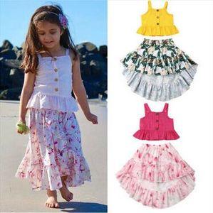 Bebek Kız Giyim Nokta Askı Düzensiz Çiçekli Etek 2 PCS Çocuk Tasarımcı Giyim Kız Yaz Sling Elbise Kıyafet Streetwear ZYQ198 ayarlar