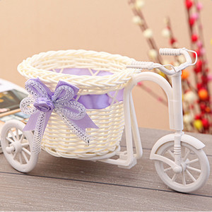 Rattan Tricycle Bike Flower Basket Vase Storage Garden Wedding Party Decoration Office Bedroom Holding Candy Gift