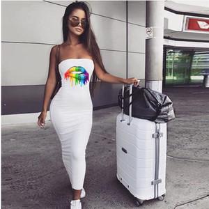 Abbigliamento Sexy Tube Top Dress Hip Delle Donne Arcobaleno Stampa Labbra Pattern Skinny Fashion Dress Famale ogni giorno
