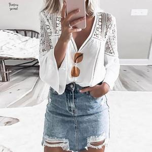 Vintacy المرأة بوهو الأعلى قمصان بيضاء الصيف مثير V الرقبة مضيئة كم جنسي الجوف السفر الأعلى يزين عارضة المهنة الطويلة