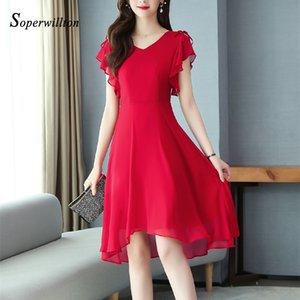 2020 ruffle Sleeveless Summer Dresses For Women Red Black Elegant Womne's Dress Solid Feminine Vestido Casual Midi Dresses M-3XL