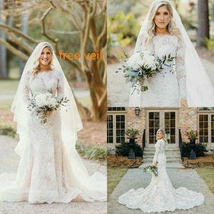 Completa Vestidos de casamento do laço do vintage Modest Botão mangas compridas sereia vestidos de noiva Voltar Sweep Trem abiti da sposa