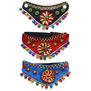 National Wind Pet Bandanas Pet Triangle Neck Decoration Accessories Turban Dog Collar With Bell Colorful Flower Scarf Make Pets Dog Apparel