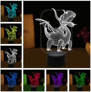 Luminaria الجدة أنيمي الزاحف 3d الديناصور التنين led البصرية 7 لون التدرج ليلة ضوء الجدول نوم السرير مصباح الطفل الطفل لعبة هدية