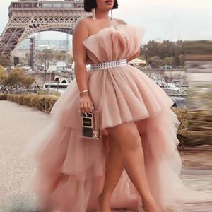 Partido de coctel de Alta Parte Baja Vestidos Con Banda sin tirantes de tul rosa polvoriento hinchada vestido con gradas por encargo vestido de fiesta barato