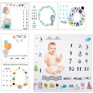 Bebê recém-nascido Milestone Fotografia Cobertores Blanket de banho Toalhas Flor Imprimir macia Cobertor Infantil DIY Fotografia Props
