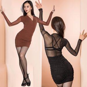 Sexy Latin платье блесток платье Танцы команды Show Костюм New Dance Competition Женщины Outfit Современная сальса латинских танцев