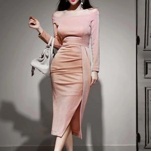 Korean version of the latest spring and autumn sexy slim diagonal split hip bag dress