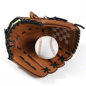 Открытый Спорт Бейсбол перчатки Brown PU Износостойкие Прочные софтбол Обучение Спортивные перчатки Мужчины Подросток Ребенок Портативный перчатки