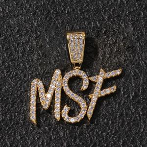 A-Z Пользовательские Имя Кисть Шрифт Буквы Настроить Кулон Ожерелье Цепь Золото Серебро Bling Цирконий Мужчины Хип-Хоп Кулон Ювелирные Изделия