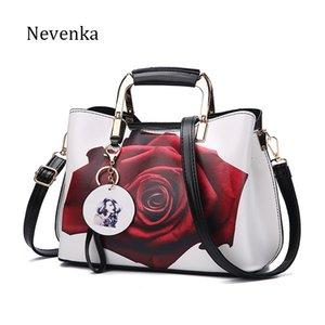 Nevenka Frauen Handtasche Mode-Art-Female Painted Schultertasche Blumen-Muster Kuriertaschen Leder-beiläufige Tote Abendtasche Y200623