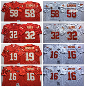 NCAA Fußball 19 Joe Montana 58 Derrick Thomas Jerseys 32 Marcus Allen 16 Len Dawson Stitchgood Farbe Rot Weiß Mann Vintage