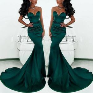 Muhteşem Sevgiliye Uzun Zümrüt Yeşil Mermaid Abiye giyim 2019 Yeni Saten Fishtail Kadınlar Için Özel Durum Gelinlik Modelleri 171