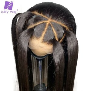 Straight Lace Front Wig Human Hair Whole 13x6 Lace Frontal Bleached Knots Pre Plucked Glueless Brazilian Wig Non-remy Hair Luffy Y190713