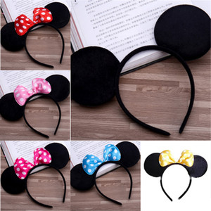 6 Farbe Mädchen Haarschmuck Mouse-Ohren Stirnband Kinder Haarband-Babykinder nette Halloween Weihnachten Cosplay Kopfschmuck Ring EMS FJ426
