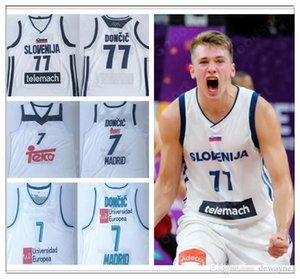 2019 Slowenien 77 Doncic genähtes Trikots Sport Jersey City SWINGMAN neue Hemden Luka # 7 Slovenija Real Madrid Euroleague-Champion Sport